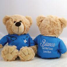 Get Well Teddy Bear Nurse Scrubs Blue
