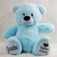 Love Grandma Personalised Teddy Bear 40cm Plush Blue