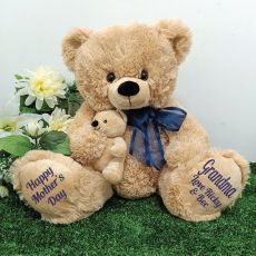 Grandma Bear & Baby Bear Personalised Plush - Blue