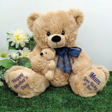 Mumma Bear & Baby Bear Personalised Plush - Blue