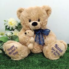 Nana Bear & Baby Bear Personalised Plush - Blue