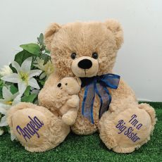 Personalised  Teddy Bear with Blue Bow