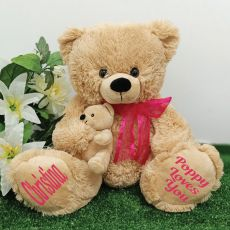 Personalised  Teddy Bear with Pink Bow