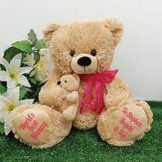 Mumma Bear & Baby Bear Personalised Plush - Pink
