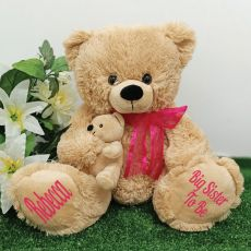 Personalised Sister Teddy Bear with Pink Bow
