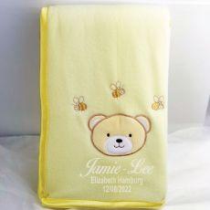 Personalised Baby Blanket Yellow Bear