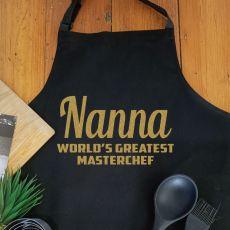 Nana Personalised  Apron with Pocket - Black