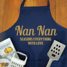 Nan Personalised  Apron with Pocket - Navy