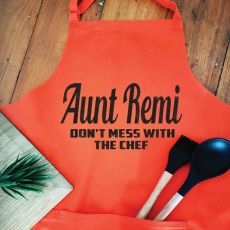 Aunt Personalised  Apron with Pocket - Orange