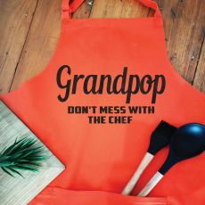 Grandpa Personalised  Apron with Pocket - Orange