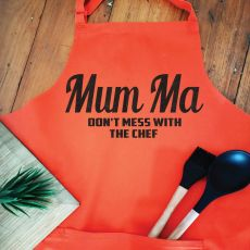 Mum Personalised  Apron with Pocket - Orange