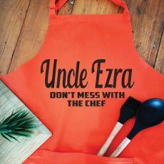 Uncle Personalised  Apron with Pocket - Orange