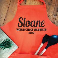 Personalised  Volunteer Apron with Pocket - Orange