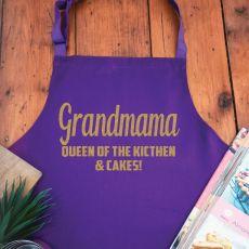 Grandma Personalised  Apron with Pocket - Purple