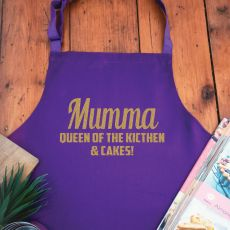 Mum Personalised  Apron with Pocket - Purple