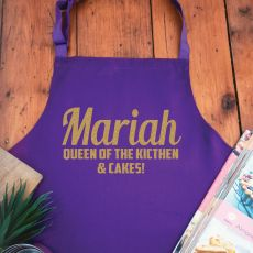 Personalised  Apron with Pocket - Purple
