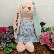 Hallie Bunny Keepsake Plush Blue Dress