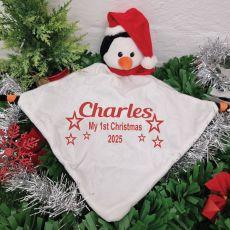 Personalised 1st Christmas Security Blanket -Penguin