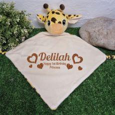 Personalised Baby Security Comforter Blanket Giraffe