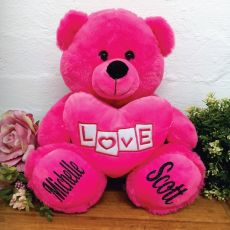 Anniversary Bear With Pink Heart Pink 30cm