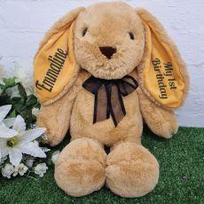 Personalised 1st Birthday Rabbit Plush 40cm Caramel