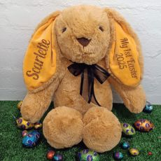 1st Easter Rabbit Bunny Plush Black Bow - 40cm Caramel