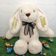 1st Easter Rabbit Bunny Plush Black Bow - 40cm Cream