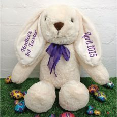 1st Easter Rabbit Bunny Plush Purple Bow - 40cm Cream