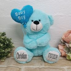 Personalised Baby Boy Bear With Balloon