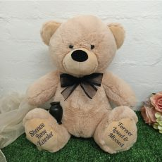 Personalised Cremation Urn Memorial Bear Cream 40cm  - Black