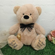 Personalised Cremation Urn Memorial Bear Cream 40cm  - Gold