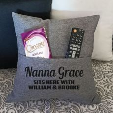 Nan Personalised Grey Pocket Pillow Cover