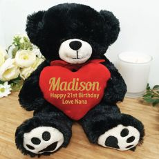 Personalised 21st Bear Black Plush with Heart