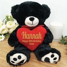 Personalised 40th Bear Black Plush with Heart