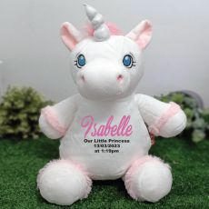 Personalised Message White Unicorn Cubbie Bear Plush