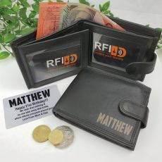 Personalised Black Leather Wallet RFID - Birthday