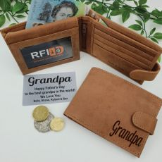 Grandpa Personalised Brown Leather Wallet RFID
