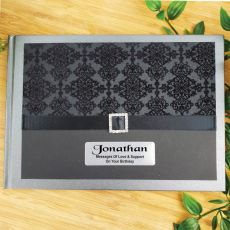 80th Birthday Guest Book Keepsake Album- Baroque Black