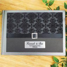Personalised Engagement Guest Book Keepsake Album-Baroque Black