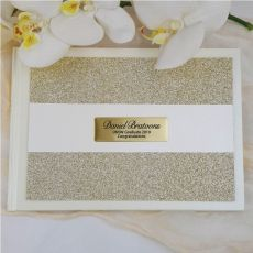 Graduation Guest Book Album Gold Glitter Band