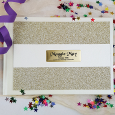 40th Birthday Guest Book Album Gold Glitter Band