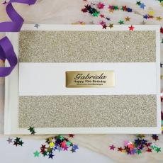 70th Birthday Guest Book Album Gold Glitter Band