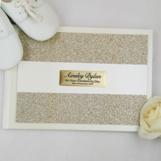 Christening Guest Book Album Gold Glitter Band