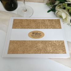 50th Birthday Guest Book Album Embossed Gold