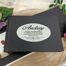 Personalised Black 1st Birthday Guest Book