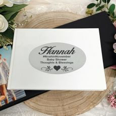 Personalised White Baby Shower Guest Book
