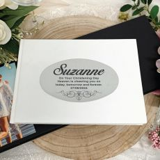 Personalised White Christening Guest Book