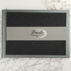 Birthday Personalised  Glitter Guest Book- Black