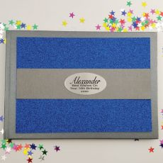 18th Birthday Personalised  Glitter Guest Book- Blue