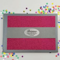 60th Birthday Personalised  Glitter Guest Book- Pink
